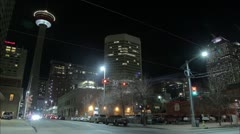 Calgary Tower and C-Train Time Lapse Stock Footage