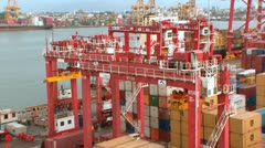 Zoom out busy Port very high angle Stock Footage