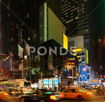 Stock photo of city life with times square at night