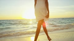 Girl Wearing White Walking Island Beach Sunset - stock footage