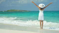 Beautiful Girl Achieving Ambitions Tropical Beach Stock Footage