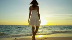 Hispanic Girl Watching Sunrise Ocean - stock footage