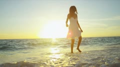 Girl in White on Paradise Beach - stock footage