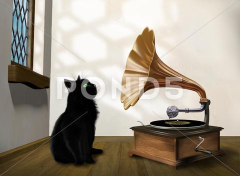Stock Illustration of cat with gramophone