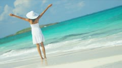 Beautiful Girl Achieving Ambitions Tropical Beach - stock footage
