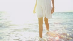 Legs Beautiful Girl Walking Barefoot Beach Stock Footage