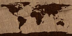 World Map on Overlapping Burlap Stock Photos