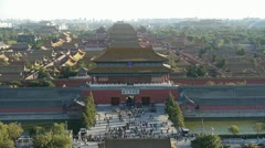 Panoramic of Many tourists people at China ancient architecture. Stock Footage