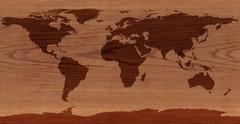 Cedar Wood World Map - stock illustration