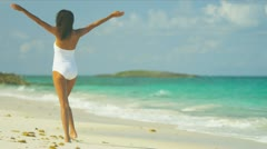 Carefree Girl Loving Island Lifestyle - stock footage