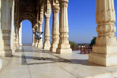 Flying pigeon in jaswant thada, jodhpur, India Stock Photos