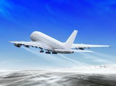 Plane is landing away Stock Illustration