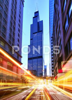 Stock photo of willis tower at night time