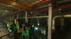 Factory interior crane shot Stock Footage