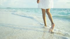 Lower Body Girl Walking Ocean Shallows Stock Footage