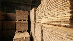 Warehouse of wood(2 shots) Stock Footage
