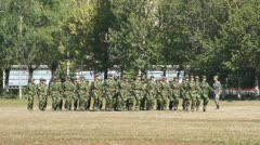 Soldiers March On Spot Stock Footage