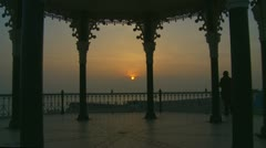 Sunset through a bandstand 2 Stock Footage