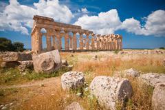 greek temple in selinunte - stock photo