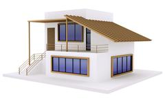 exterior of modern private house - stock illustration