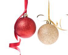 Christmas balls with ribbon Stock Photos