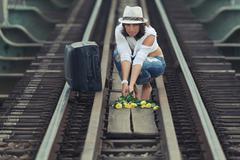 Woman on train track Stock Photos