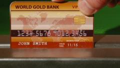 Gold Credit card Stock Footage