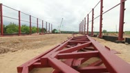 Stock Video Footage of steel frames at a construction site