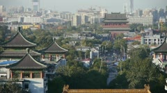 Panoramic of China ancient tower architecture & urban high rise building. - stock footage