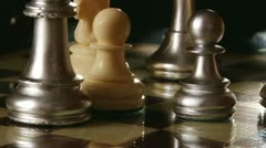 Chess, silver pawns Stock Footage