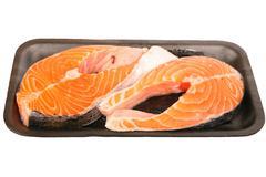 packaged atlantic salmon steaks - stock photo