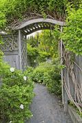 garden arbor - stock photo