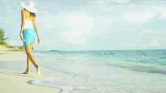 Hispanic Girl Walking Outdoors Beach Stock Footage