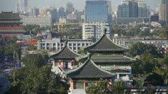Panoramic of China ancient tower architecture & urban high rise building. Stock Footage