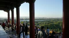 Panoramic views of Many tourists people at China ancient architecture. Stock Footage
