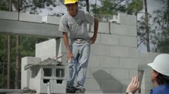Homebuilder and Construction Worker Stock Footage