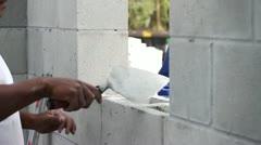 Masonry Wall Construction Stock Footage