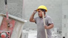 Worker Prepares Cement Mixer Machine Stock Footage