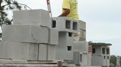 Construction Worker Measuring Masonry Wall Stock Footage