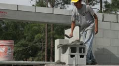 A Construction Worker Builds a Masonry Wall Stock Footage