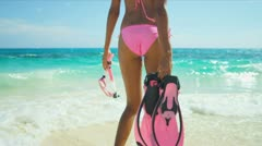 Lower Body Close Up Girl Swimsuit Snorkeling Equipment Stock Footage