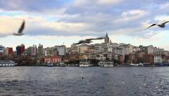 Goldenhorn in front of Galata Tower Stock Footage
