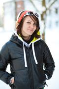 portrait of a trendy winter woman - stock photo