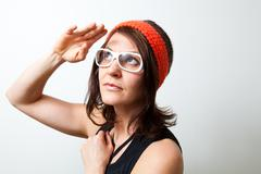 young trendy woman saluting - stock photo