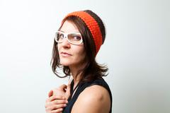 portrait of a trendy woman - stock photo