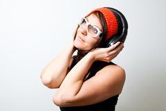 woman with headphones - stock photo