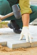 cobble-stone laying down - stock photo