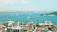 Aerial view to ships sailing through the Bosphorus strait in Istanbul, Turkey. Stock Footage