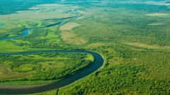Beautiful river aerial Stock Footage
