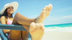 Young Latin American Girl Loving Luxury Vacation Lifestyle Stock Footage